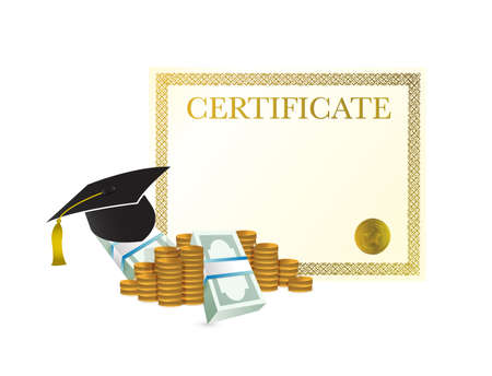 certificate tuition cost design graphic concept. Vector Illustration. isolated over white Illustration