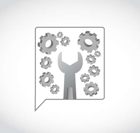 wrench gears and message bubble vector illustration. isolated over a white background Stock Vector - 103334559
