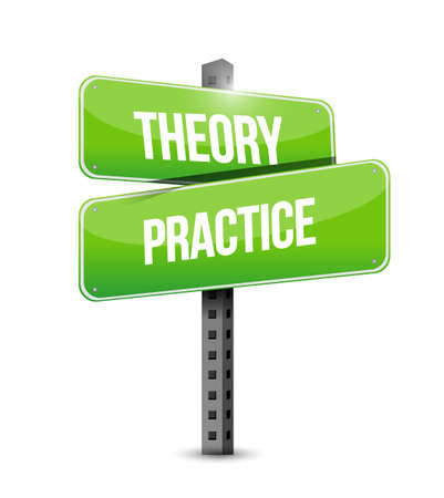 theory practice vector illustration sign. isolated over a white background