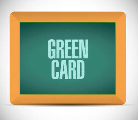 green card chalkboard sign vector illustration. isolated over a white background