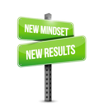 new mindset new results vector illustration sign. isolated over a white background
