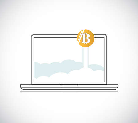 notebook with golden bitcoin illustration. isolated over a white background Stock Illustratie