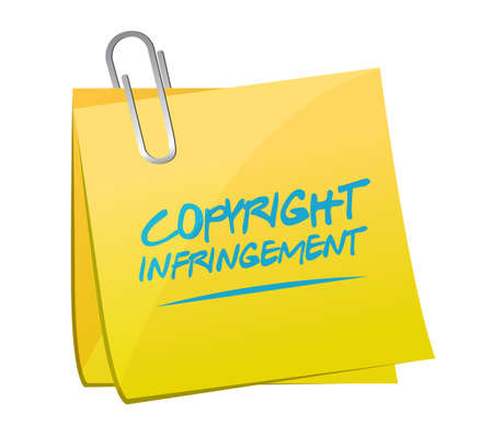copyright infringement post illustration. isolated over a white background Illustration