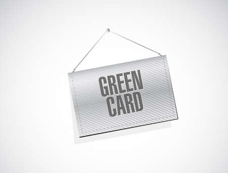 green card hanging banner sign vector illustration. isolated over a white background