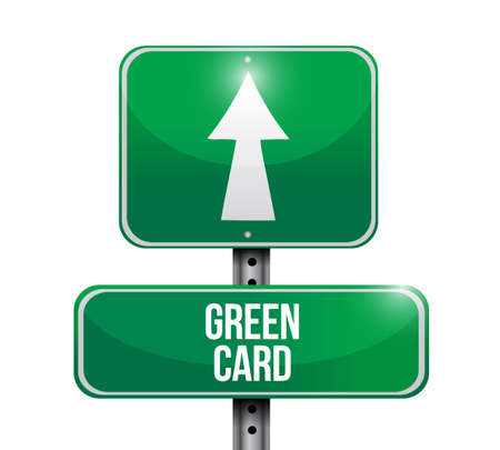 green card street sign vector illustration. isolated over a white background