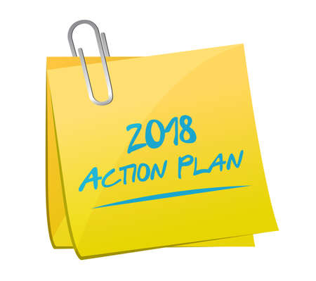 2018 action plan post. bussiness concept illustration. isolated over a white background