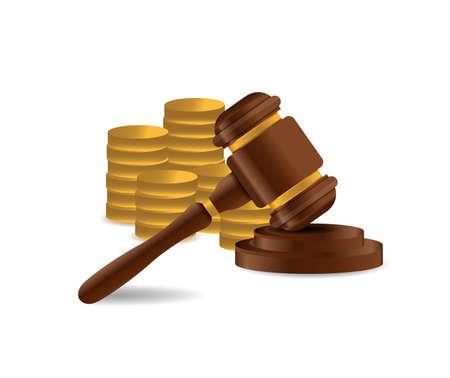 3D Wooden gavel. Judge, Law, Auction concept. illustration over a white background Ilustração