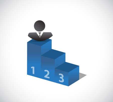 businessman on top of the leader podium. bussiness concept illustration. isolated over a white background