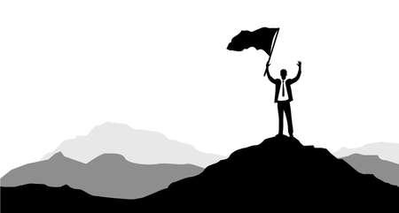 Hommes d'affaires tenant un drapeau de la victoire sur un sommet de montagne. concept d'entreprise. concept de direction. graphique de conception d'illustration