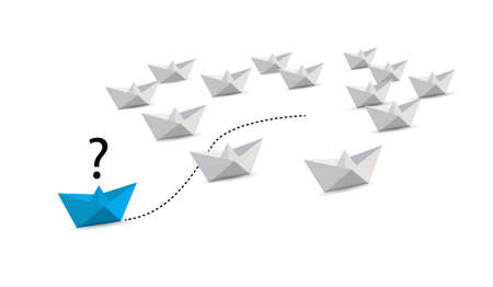 paper boat leader with questions. leadership questions. blue boat. illustration over a white background