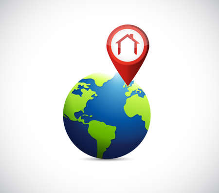 house pointer locator on a globe. illustration design graphic