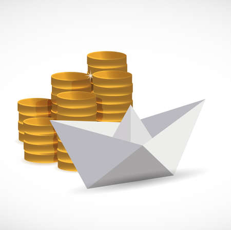goldcoins and paper boat. business concept. illustration design graphic isolated over white 向量圖像
