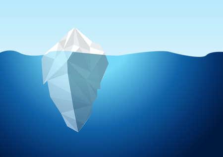 Weißer Eisberg auf blauem Atlantik-Hintergrund-Vektor. Illustration Design Grafik Vektorgrafik