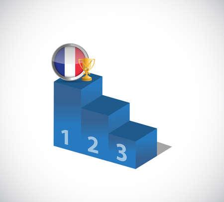 France flag and gold trophy on top of the leader podium. illustration design graphic over white background Illustration