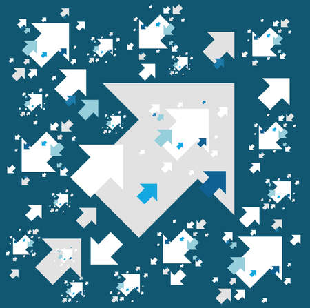 Arrows going in the same direction Background illustration. isolated over a blue background