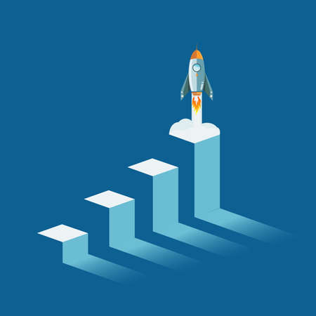 rocket flying from top of a business graph. isolated illustration over white
