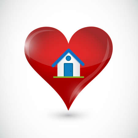 House and heart icon over a white background