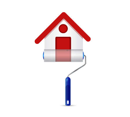 House repair icon. Paint roller over a white background