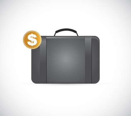 Briefcase with golden dollar illustration isolated over a white background