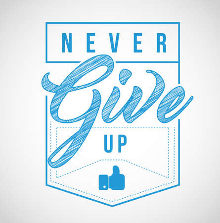 never give up stamp seal illustration isolated over a white background