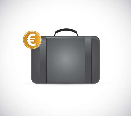 Briefcase with golden euro illustration isolated over a white background