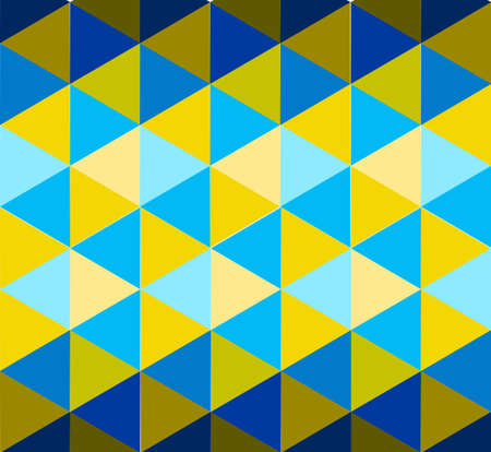 Triangle pattern in blue and yellow color shades illustration background Stock Illustratie