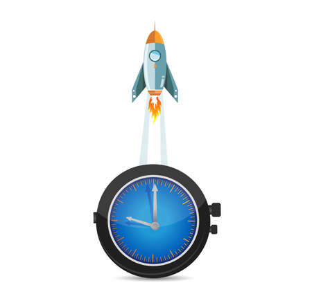 watch icon with a rocket illustration background