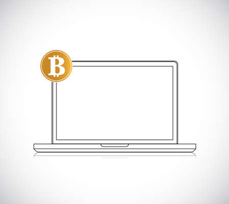 Modern notebook with golden bitcoin illustration isolated over a white background
