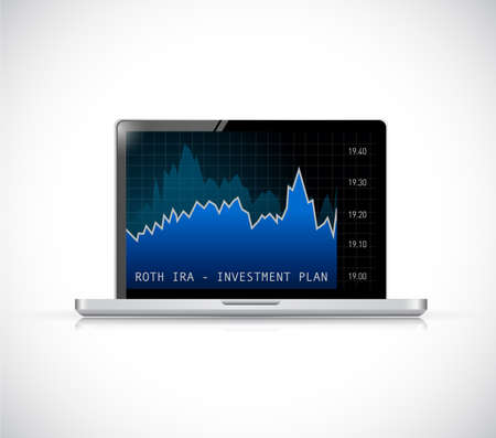 roth ira investment plan. Stock market concept illustration over a green background