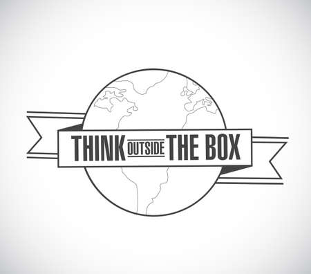 think outside the box line globe ribbon message concept isolated over a white background