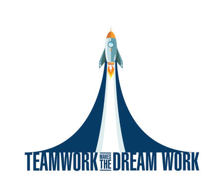 Teamwork makes the dream work rocket smoke message illustration isolated over a white background Ilustração