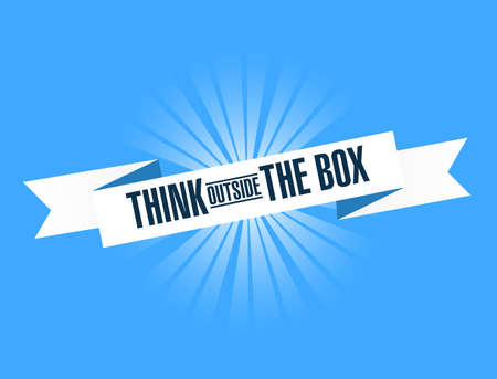 think outside the box bright ribbon message  isolated over a blue background Illustration