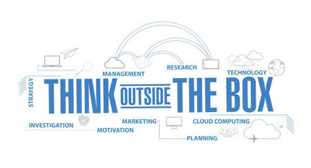think outside the box diagram plan concept isolated over a white background