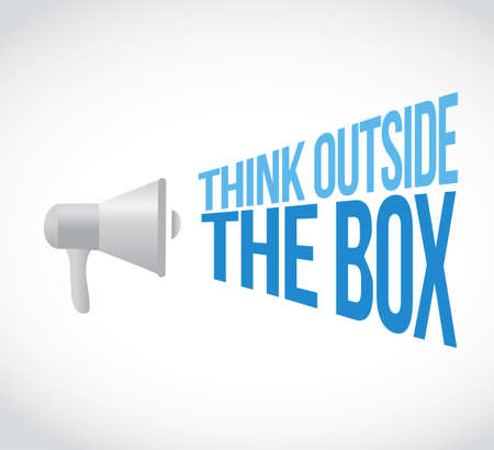 think outside the box loudspeaker message concept isolated over a white background
