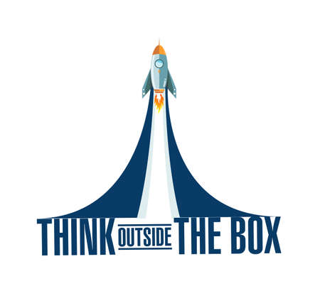 think outside the box rocket smoke message illustration isolated over a white background
