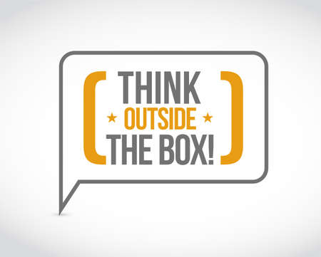think outside the box message bubble isolated over a white background Stock Vector - 111919464