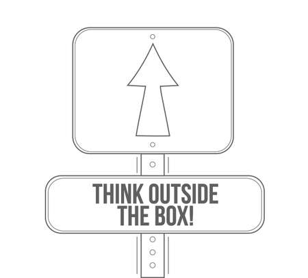 think outside the box line street sign isolated over a white background