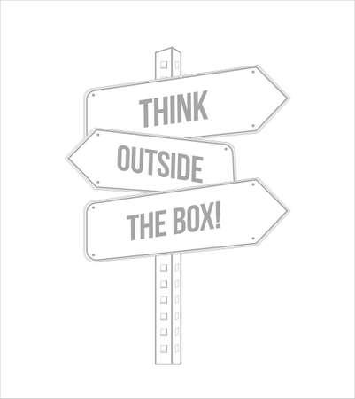 Pensez en dehors de la boîte signe de rue ligne de destination multiple isolé sur fond blanc