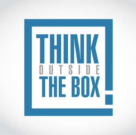 Think outside the box exclamation box message  isolated over a white background Illustration
