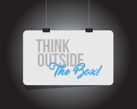 think outside the box hanging banner message isolated over a black background