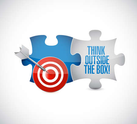 Think outside the box target puzzle pieces message  isolated over a white background Illustration