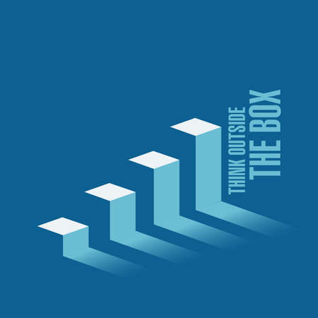 think outside the box business graph message concept isolated over a blue background Illustration