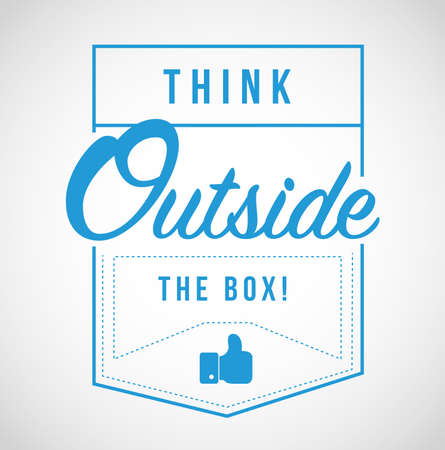 think outside the box modern stamp message design isolated over a white background Illustration