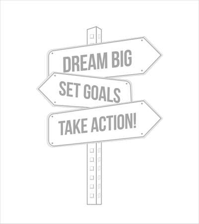 dream big, set, goals, take action multiple destination line street sign isolated over a white background 向量圖像