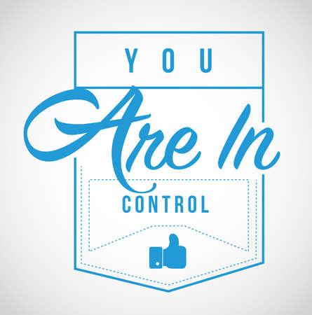 you are in control Modern stamp message design isolated over a white background Foto de archivo - 111682075