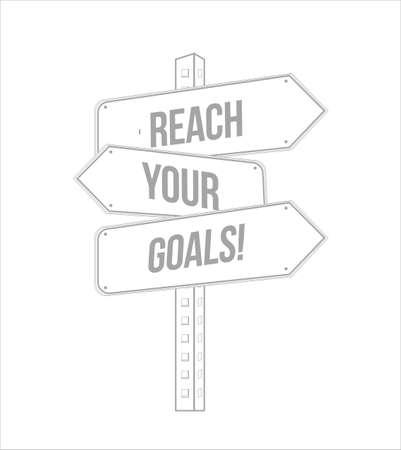Erreichen Sie Ihre Ziele mehrere Ziellinie Straßenschild über einem weißen Hintergrund isoliert