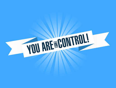you are in control bright ribbon message isolated over a blue background Foto de archivo - 111682084