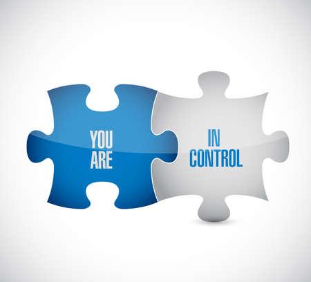 Usted está en el concepto de mensaje de control de piezas de rompecabezas, aislado sobre un fondo blanco. Ilustración de vector