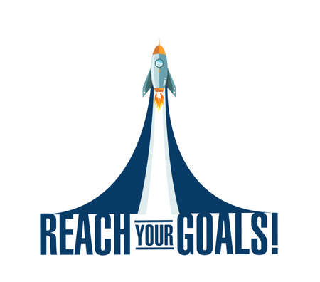 raggiungi i tuoi obiettivi razzo fumo messaggio illustrazione isolato su uno sfondo bianco Vettoriali