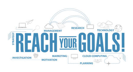 reach your goals diagram plan concept isolated over a white background Çizim